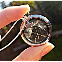 Sterling silver chain Dandelion Necklace Silver Locket Star Charm with GIFT BOX - floating locket personalized floating charm pendant for women birthday gift Mother's day jewellery