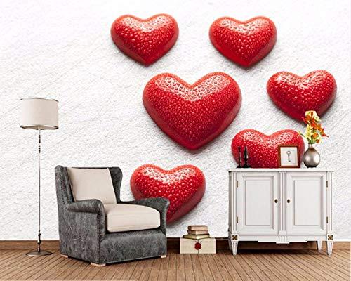 Kuamai Murales 3D Personalizados Papel De Pared Día De San Valentín Corazón Rojo Gotas Papel Tapiz Romántico, Sala De Estar Sofá Tv Pared Dormitorio Papeles De Pared Decoración Para El Hogar Murales-350X250cm