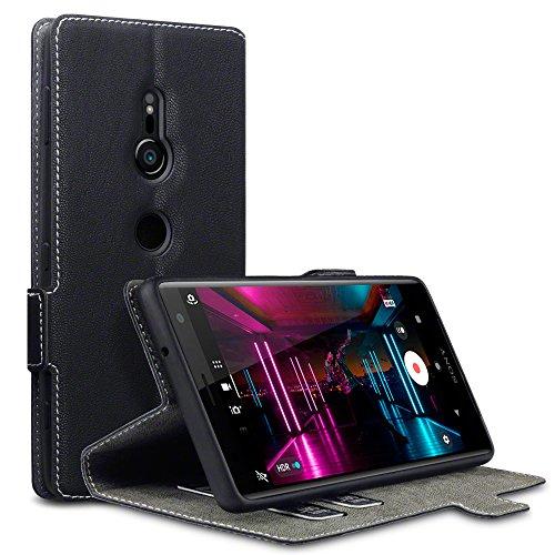 Terrapin, Kompatibel mit Sony Xperia XZ2 Hülle, Leder Tasche Case Hülle im Bookstyle mit Standfunktion Kartenfächer - Schwarz