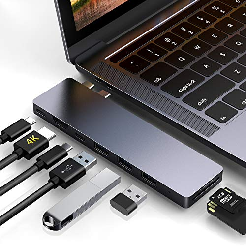 "USB C Hub, HOTUCG USB-C Hub für MacBook Pro 2018/2017/2016 13""&15"", MacBook Air 2018 13"", 8 in 1 Aluminium Thunderbolt 3 Dual Type C Adapter Hub mit HDMI 4K, 3 USB C 3.0, SD/TF Kartenleser - Spacegrau"