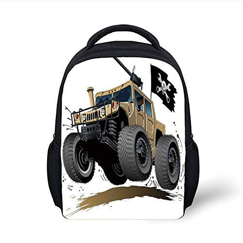 Kids School Backpack Cars,Worldwide Off Road Famous Safari Rally Truck with Skull Pirate Flag Camouflage Design,Grey Brown Plain Bookbag Travel Daypack - Big 3x5 Flag