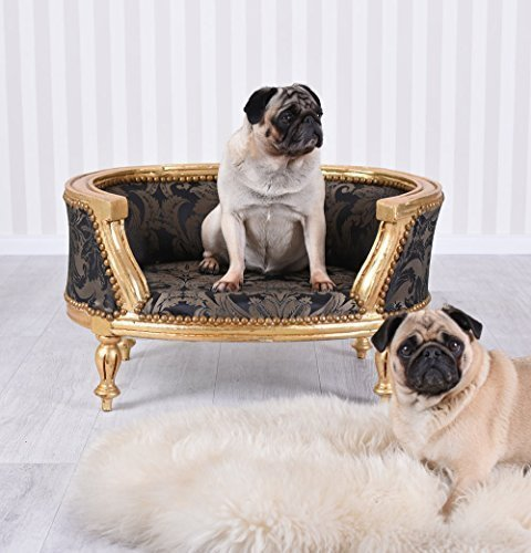 PALAZZO INT Barock Hundebett Gold Schwarz Hundesofa Mops Sofa Hundekorb Antik Stil Palazzo Exklusiv
