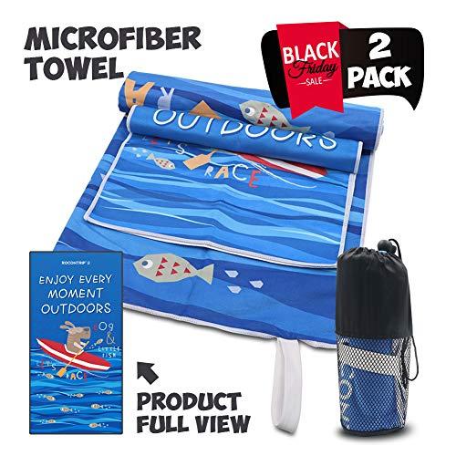 Asciugamano da spiaggia in microfibra, rocontrip telo mare sport da viaggio nuoto asciugamano rapido, leggero asciugamano da campeggio 2 pacchi con borsa per baia, escursionismo, palestra