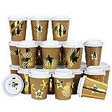Papierdrachen DIY Adventskalender Kaffee-Becher - zum selber Basteln und Befüllen - mit goldenem Washi Tape - 24 Coffee to Go Cups - Design Set 116