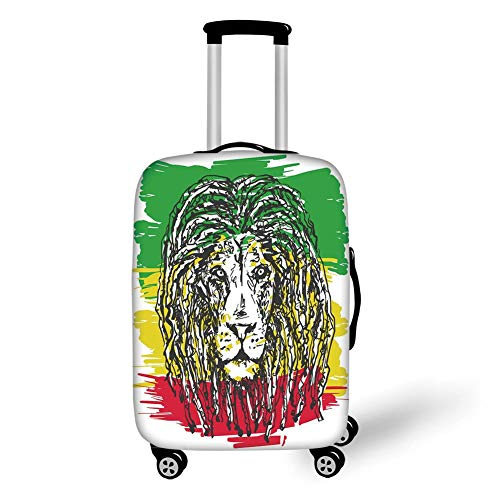 Travel Luggage Cover Suitcase Protector,Rasta,Ethiopian African Culture Hair Style Lion Head Portrait Grunge Backdrop Decorative,Green Yellow and Red,for Travels 19x27.5Inch (Tow-rack)