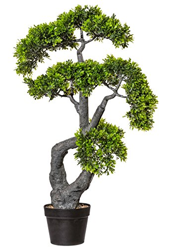 Kunstpflanze Bonsai Teeblatt 85 cm künstliche Pflanze Baum Grün im Topf – 1917801-50