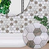 C Five Autocollants de tuile 10 pièces / 1 Ensemble Auto-adhésif imperméable Quadrate Texture de marbre 3D tuile Art Sticker Mural Autocollant Bricolage Cuisine Salle de Bains,20 * 20cm
