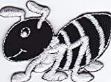 Iron on Patch Sew on Embroidered Application Cute Little Ant Black and White