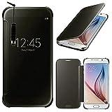 Samsung Galaxy S6 SM-G920F Housse HCN PHONE Coque Etui Clear View Cover pour Samsung Galaxy S6 SM-G920F + mini stylet - NOIR