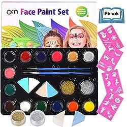 HEYSAMO Kinderschminke Set Face Paint - Hochwertiges Kinder Schminkset Ideal für Partys Mädchen, Schablonen, Gesichtsfarben, Halloween & Fasching, Professionellemit wasserlösliche Schminkfarbe