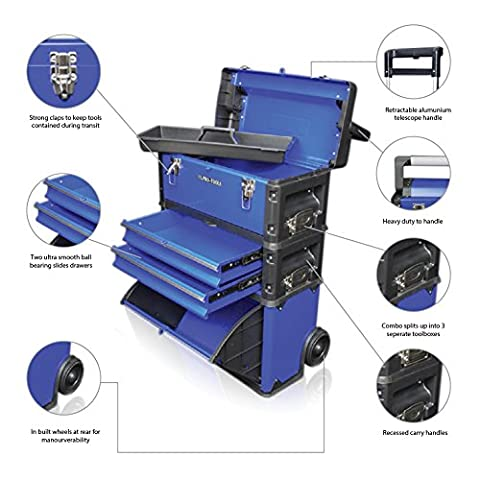US PRO Tools Blue Work Center Plastic Steel Mobile Rolling