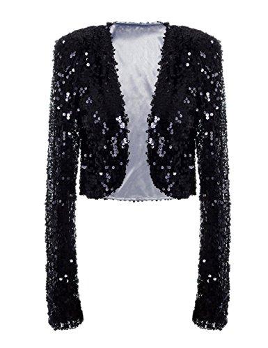 PrettyGuide Damen Pailletten Jacke Kurze Disco Tanz Langarm Bolero Clubwear Party Tops M Schwarz (Wenig Zucken)