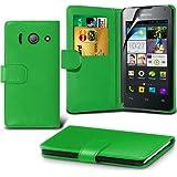 ( Green ) Huawei Ascend Y300 Ledergeldbörse Flip Hülle Tasche Mit-Schirm-Schutz-Schutz By Spyrox