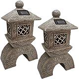 Progettazione Toscano giapponese Pagoda Illuminato Lanterna Statua (set di due)