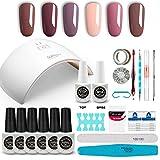 GirlyDream Kit Professionnel Manicure Semi-Permanent Gel, Lampe UV/LED 36W Sèche ongles, 6 Couleurs Vernis Gel, Base Coat & Top Coat Primer Complet Accessoires pour Nail Art #011