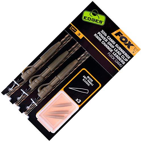 FOX Camo Submerge Power Grip Lead Clip Kwik Change 75cm - 3 Rigs zum Karpfenangeln, Karpfenvorfächer, Karpfenmontagen, Karpfenrigs, Tragkraft:30lbs/13.6kg