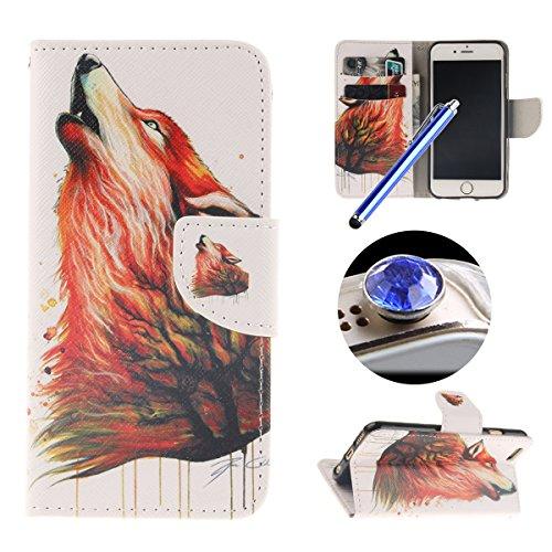 Etsue Schutzhülle iPhone 6 Plus/6S Plus Hülle, Leder Flip Case iPhone 6 Plus/6S Plus, Tasche im Bookstyle für iPhone 6 Plus/6S Plus, TPU Handy Hülle Leder Tasche Case Flip Cover Case Standfunktion und Wolf