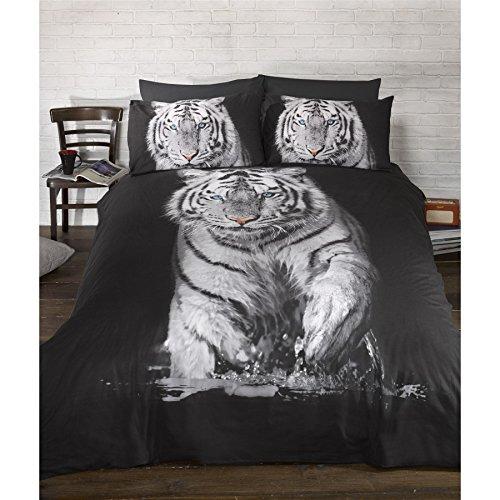 Parure de lit à motif tigre (Lit double) (Noir/Blanc)
