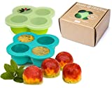 Eiswürfelform mit Deckel, 2er Set – divata FRIERies | Eiswürfelbehälter aus Silikon | Gefrierform Einfrieren der Babynahrung & Muttermilch (Gruen/Blau)
