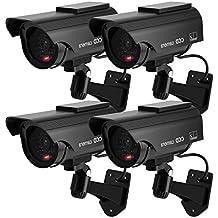 TOROTON 4 PCs Cámara Simulada Cámara Girante CCTV de Vigilancia Energía Solar Seguridad ...