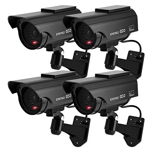 Galleria fotografica TOROTON Set di 4 Telecamere Fittizie di Sorveglianza da Esterno/Interno Energia Solare Videocamera Antifurto con LED Rosso CCTV d'Imitazione