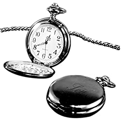 Son pocket watch black finish, personalised / custom engraved in gift box - pwbl