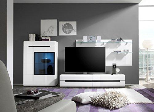 Dreams4Home Wohnwand 'Steel I' - TV-Schrank B/H/T: 180 x 34 x 50 cm, Wandpanell B/H/T: 170 x 80 x 22 cm, Highboard B/H/T: 90 x 130 x 37 cm, Wohnzimmer, in Laminat weiß Hochglanz
