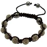 Acosta-Black Diamond-Braccialetto Shamballa in cristallo di Boemia incastonati, 9 Grigio argilla & 4 Balls-Palline in Magnetite Jewellery Gift