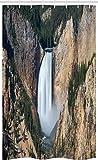 ABAKUHAUS Wyoming Tenda da Doccia Stalla, Gran Canyon di Yellowstone, Set per Il Bagno in Tessuto con Ganci, 120 x 180 cm, Scuro Marrone Sabbia Cacciatore Verde E Bianco
