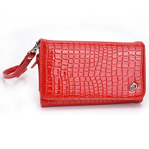 Kroo Croc universel smartphone Wristlet Wallet Case pour Blackberry Z3/Z30/Passport Mobile schwarz - schwarz rot - rot