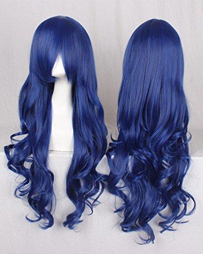 Fashion wigstyle blau 80cm wellig Cosplay Perücken Fairy Tail Juvia? ¡èlockser Kostüme Perücken für Mädchen mit Pony Party Wi (Juvia Cosplay Kostüm)