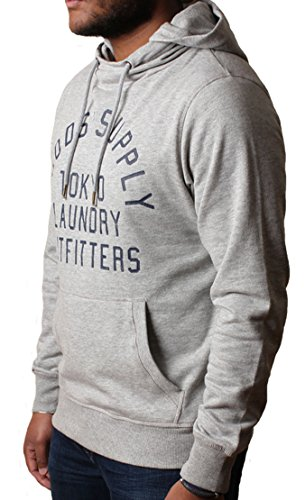 Uomini Tokyo lavanderia con collo ad anello con cappuccio Felpa pullover in pile Franklin Valley grigio chiaro Marl