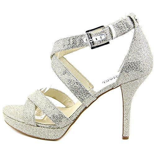 Michael Michael Kors Evie Platform Offener Spitze Textile Plateauschuh Silver Glitter