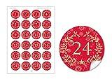 24 Adventskalenderzahlen in Rot mit Weihnachtskranz und Zahlen 1-24 im