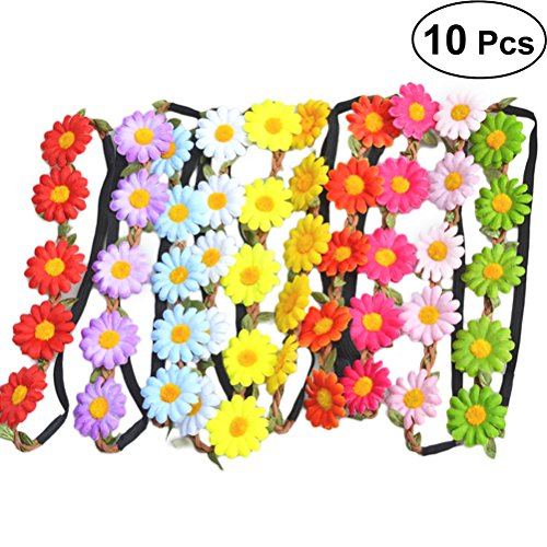 FRCOLOR Damen Sonnenblume Blumenstirnband Blumenkrone Blumenkranz Kopfband Blumen für Frauen Mädchen Hochzeit Party Strand