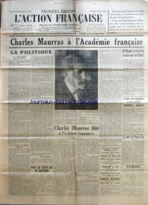 action-francaise-l-no-161-du-10-06-1938-charles-maurras-a-lacademie-francaise-la-politique-le-parti-