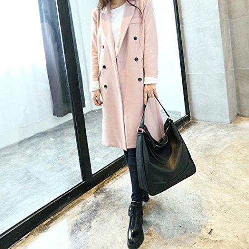 Longra Donna in pelle artificiale colore solido Lichee modello lunga corda spalla borsa borsetta Nero