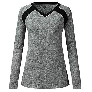 Amcool Neu Damen Langarm Shirt V-Ausschnitt Sport Funktionsshirt - Atmungsaktive Laufshirt Fitness Workout Longsleeve Yoga Tunika T-Shirt Bluse