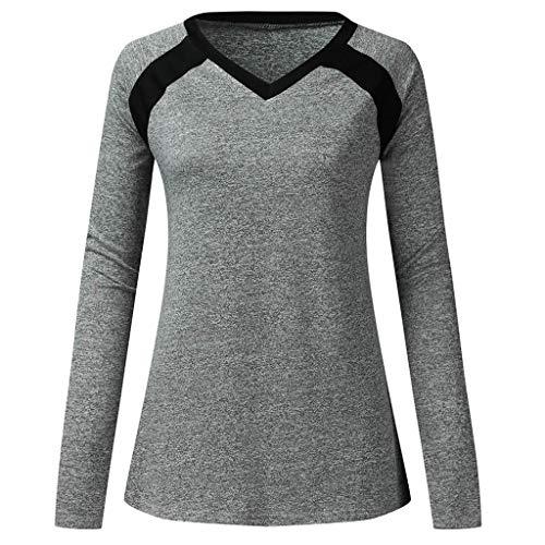 Amcool Neu Damen Langarm Shirt V-Ausschnitt Sport Funktionsshirt - Atmungsaktive Laufshirt Fitness Workout Longsleeve Yoga Tunika T-Shirt Bluse Basic Corduroy