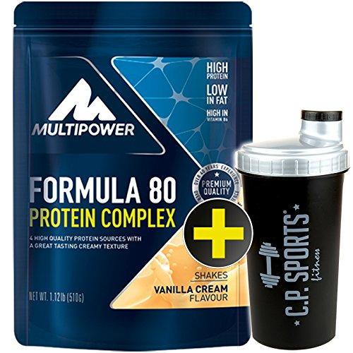 C.P. Sports Eiweiss Shaker gratis Multipower Formula 80 Protein Complex 510gr./Mehrkomponentenprotein/Eiweiß/Casein/Isolat/Proteinkonzentrat (Vanille)