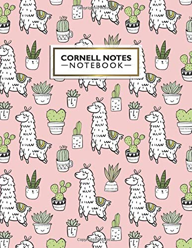 Cornell Notes Notebook: Pretty Cornell Note Paper Journal  Nifty Alpaca  Large College Ruled Medium Lined Note Taking System for School and  University