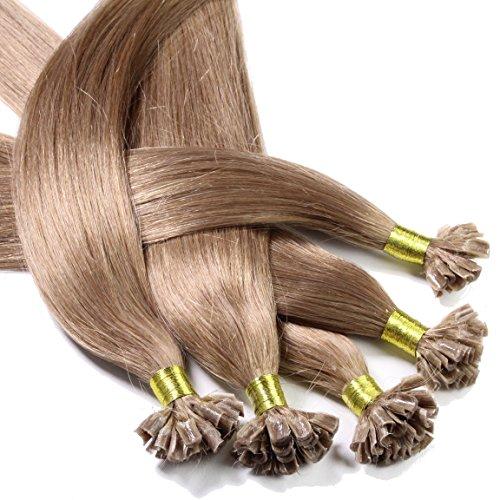 hair2heart 25 Keratin-Bonding U-tip Extensions Echthaar-Strähnen Haarverlängerung, Remy Qualität, 0.5 g, glatt, 50 cm - Farbe 14 dunkelblond, 1er Pack (1 x 25 Stück)