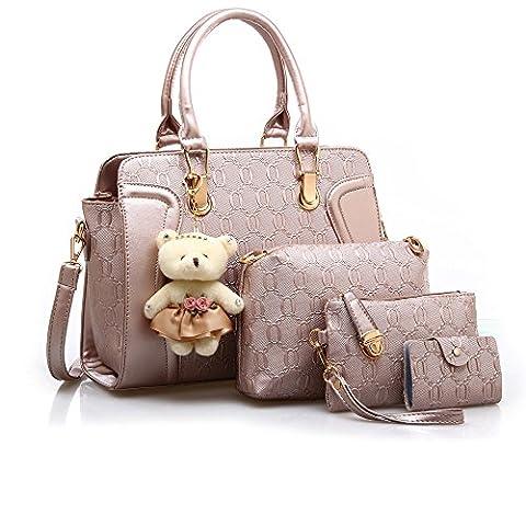 Bravoe Leather Handbag Messenger Bag for Ladies + Shoulder Bag+ Purse+Bear Key Chain Christmas Gift Gold 4 Pcs Set