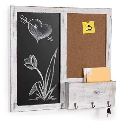 MyGift Wand montiert Tafel und Cork Board Rack mit Mail Sortiermaschine & Schlüssel Haken -