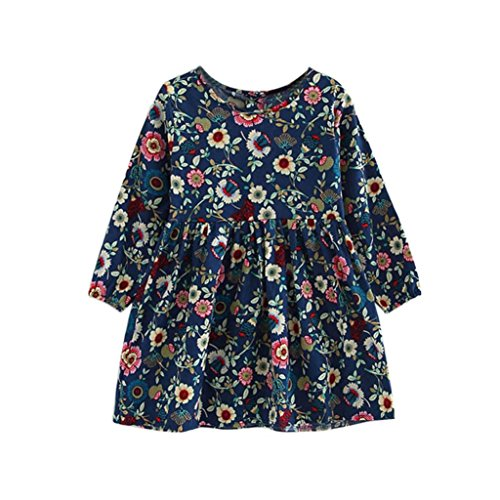 Amlaiworld Sommer Baby Gemütlich Hirtenstil Langarmshirt Kleid Mädchen locker Bunte Blumen Druck Kleid niedlich Sport Kleinkind blusen Baumwolle süße Dress, 2-10 Jahren alt (8 Jahren, Blau)
