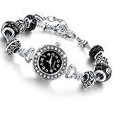 Beloved  Montre bracelet pour femme avec cristaux - bracelet avec beads plaque en argent compatible pandora - perles de verre, cristaux et métal - réglable jusqu'à 21 cm (Noir)