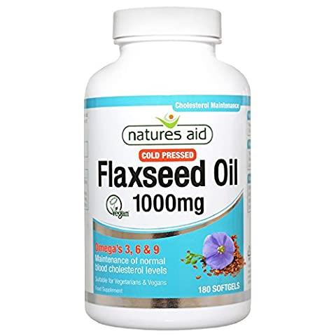 Natures Aid Vegetarian Flaxseed Oil (Cold Pressed) 1000mg (Omega 3, 6 & 9) - Pack of 180 Capsules