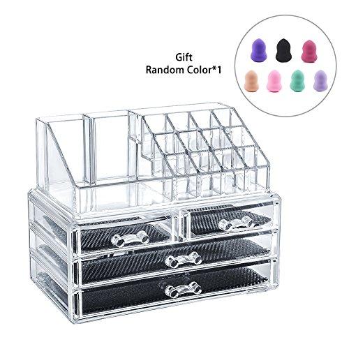 LEMAIKJ Acryl Kosmetik aufbewahrung Make Up Organizer Schubladen Schmuck Kosmetikschrank mit 2 Schubladen für Schmuck und Nagellack,24 x 13,5 x 18,5 cm transparent