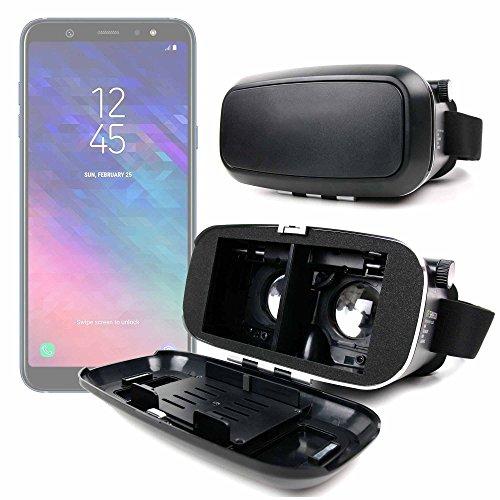 DURAGADGET Gafas de Realidad Virtual VR Ajustables en Color Negro para Smarphones Smartphone Samsung Galaxy A6, Samsung Galaxy A6+ + Gamuza limpiadora.