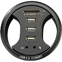 Xystec - Scatola di giunzione per cavi da incasso nel tavolo, 3 hub USB, lettore di schede e collegamento audio, diametro 8 cm
